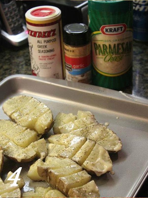Картофель, запеченный с сыром и чесноком по-быстрому
