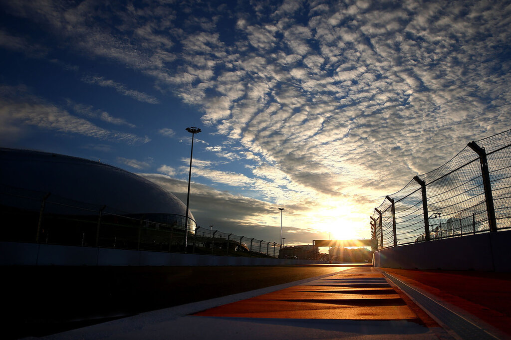 SOCHI, RUSSIA - OCTOBER 08:  A general view of the track next to the Bolshoi Ice Dome during previews ahead of the Russian Formula One Grand Prix at Sochi Autodrom on October 8, 2014 in Sochi, Russia.  (Photo by Paul Gilham/Getty Images)