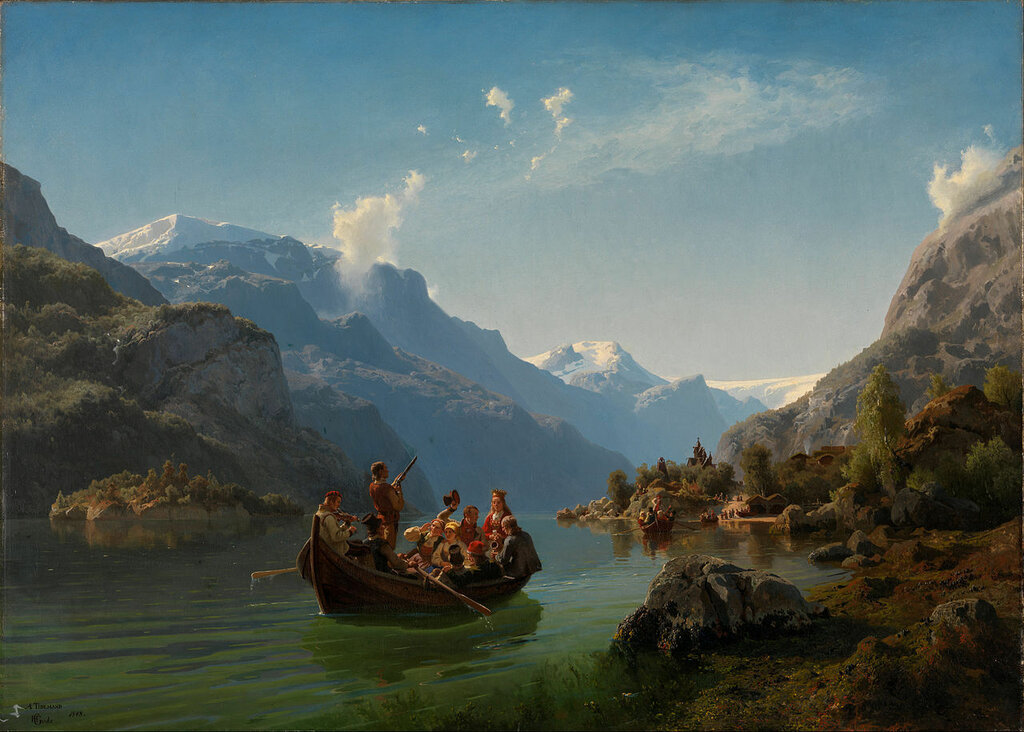 Adolph Tidemand & Hans Gude - Bridal Procession on the Hardangerfjord.jpg