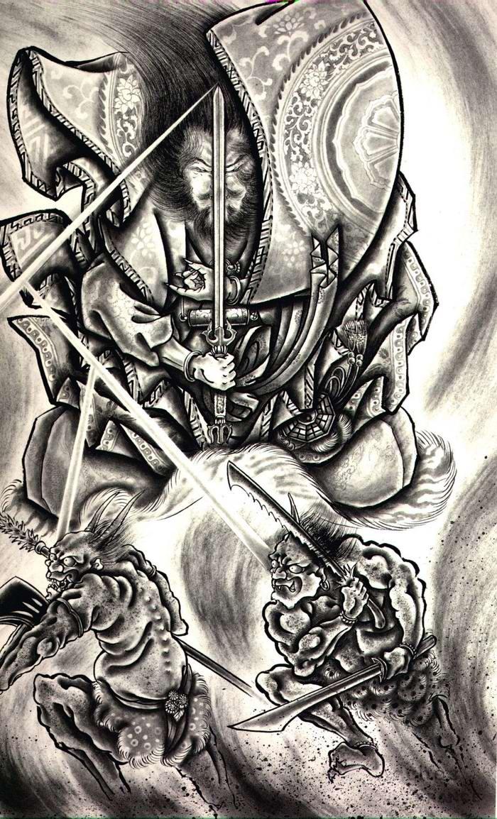 Злобные демоны на эскизах татуировок японского художника Horiyoshi (37)