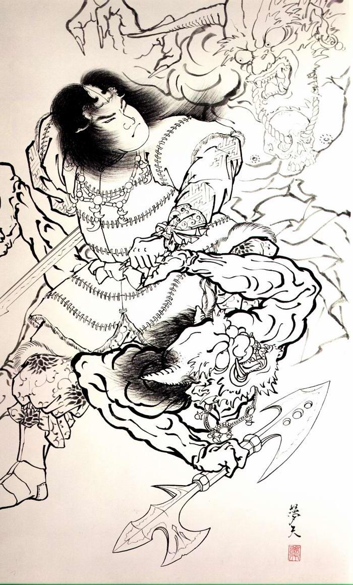 Злобные демоны на эскизах татуировок японского художника Horiyoshi (49)