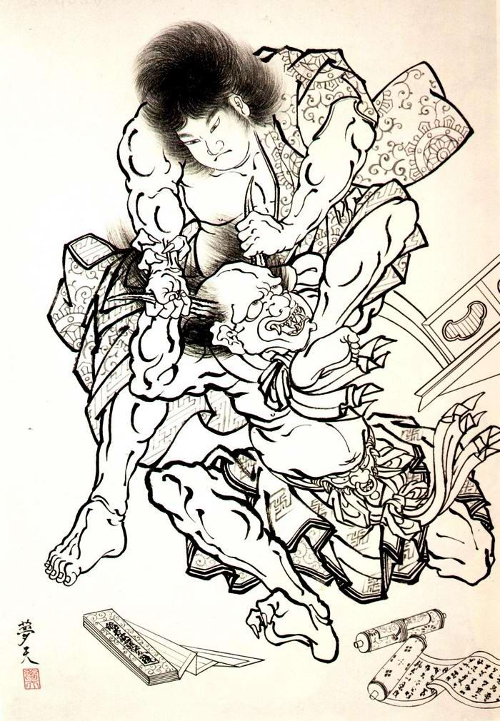 Злобные демоны на эскизах татуировок японского художника Horiyoshi (53)
