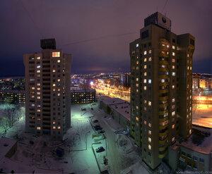 Ещё немного Афанасьева , Чебоксары, город, ночь, панорама, снег, HDR