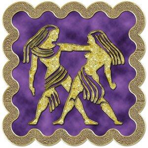 Близнецы - знак зодиака, рисунок, вариант № 3, печать, Апарышев.