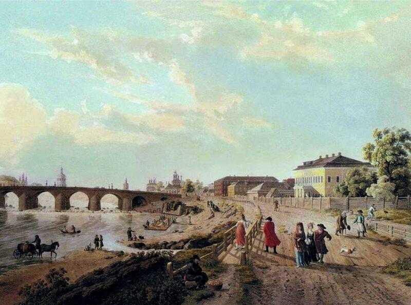 Вид Каменного Моста в Москве с деревянным мостиком у Водовзводной башни. Начало 1800-х (Г.Лари)