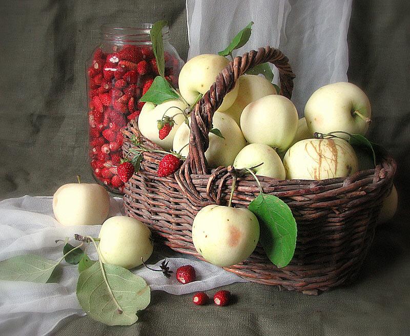 "Схема вышивки  ""Корзина с яблоками "" ."