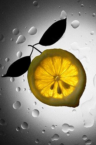"""Схема вышивки  """"Лимон прозрачный на сером фоне """" ."""