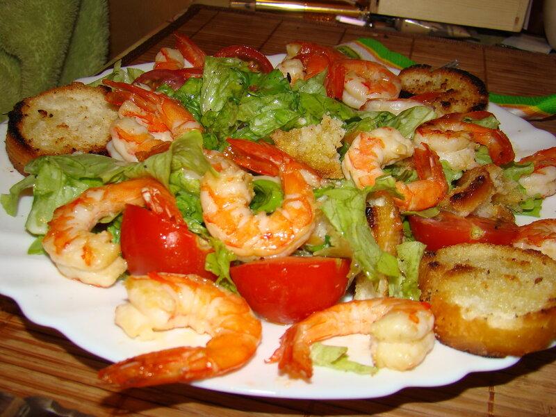 Рецепт салата цезарь с креветками из