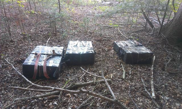 Пограничники поймали контрабандистов, тащивших ящики с сигаретами в Румынию через лес. ФОТО
