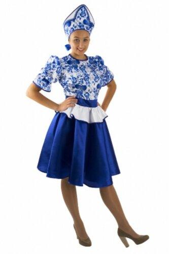 Женский карнавальный костюм Гжельский сувенир