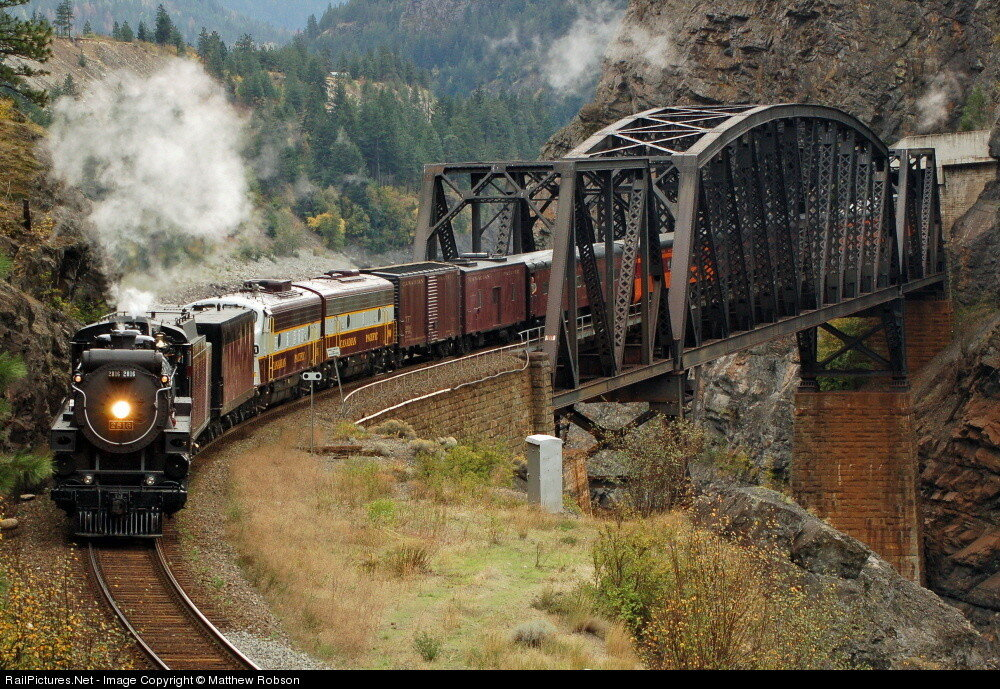 Canadian Pacific Railway CP 2816 over the Fraser River at Cisco with FP9 1401 and F9B 1900 as the trailing power on their Eastbound trip to Kamloops. Lytton, British Columbia, Canada, October 05, 2008.