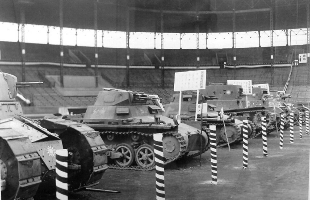 These were tanks captured from China displaying at Hanshin Koshien Stadium in February, 1939.