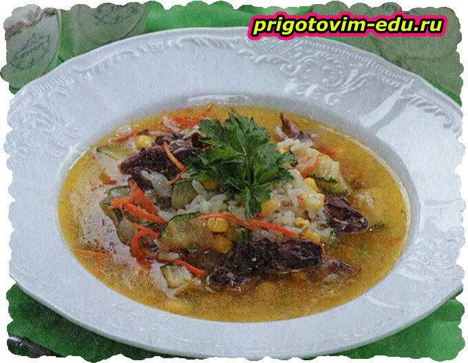 Рисовый суп с куриными сердечками