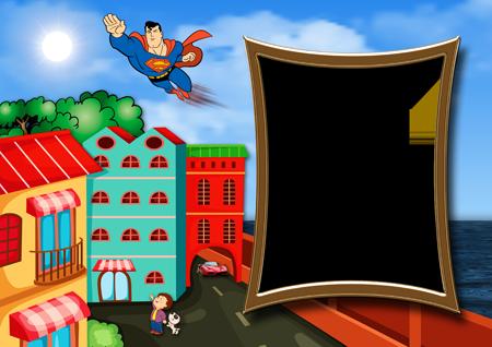 Рамка для фото с Суперменом, летящим по небу над городом