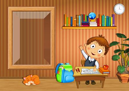 Школьная фоторамка с мальчиком-учеником за столом в комнате с полкой с книгами, ранцем и горшком и цветами