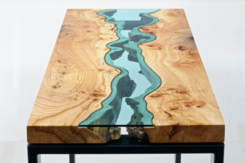 Furniture maker Greg Klassen builds intricately designed tables and other objects embedded with glas