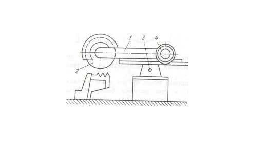 Схема дисковой салазковой пилы: 1– рама пилы; 2– диск; 3– вал; 4 – электродвигатель.