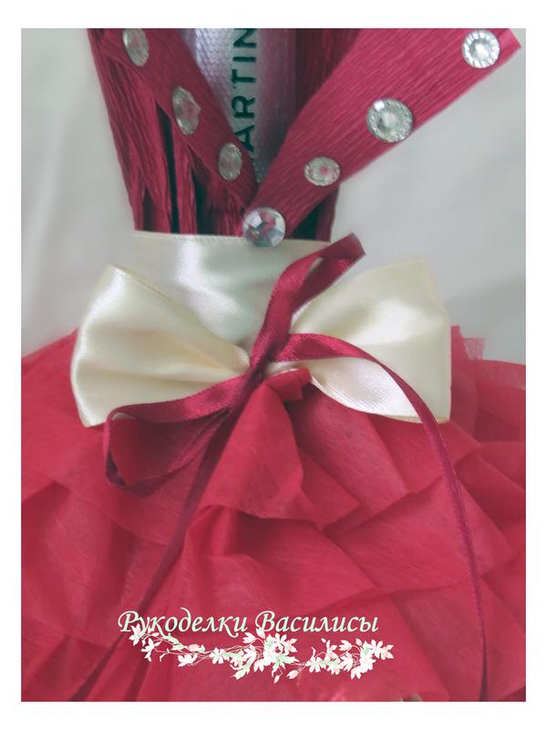свит-дизайн, оформление бутылок, бутылка дама, подарки, ручная работа, рукоделки василисы, из конфет, подарочное шампанское