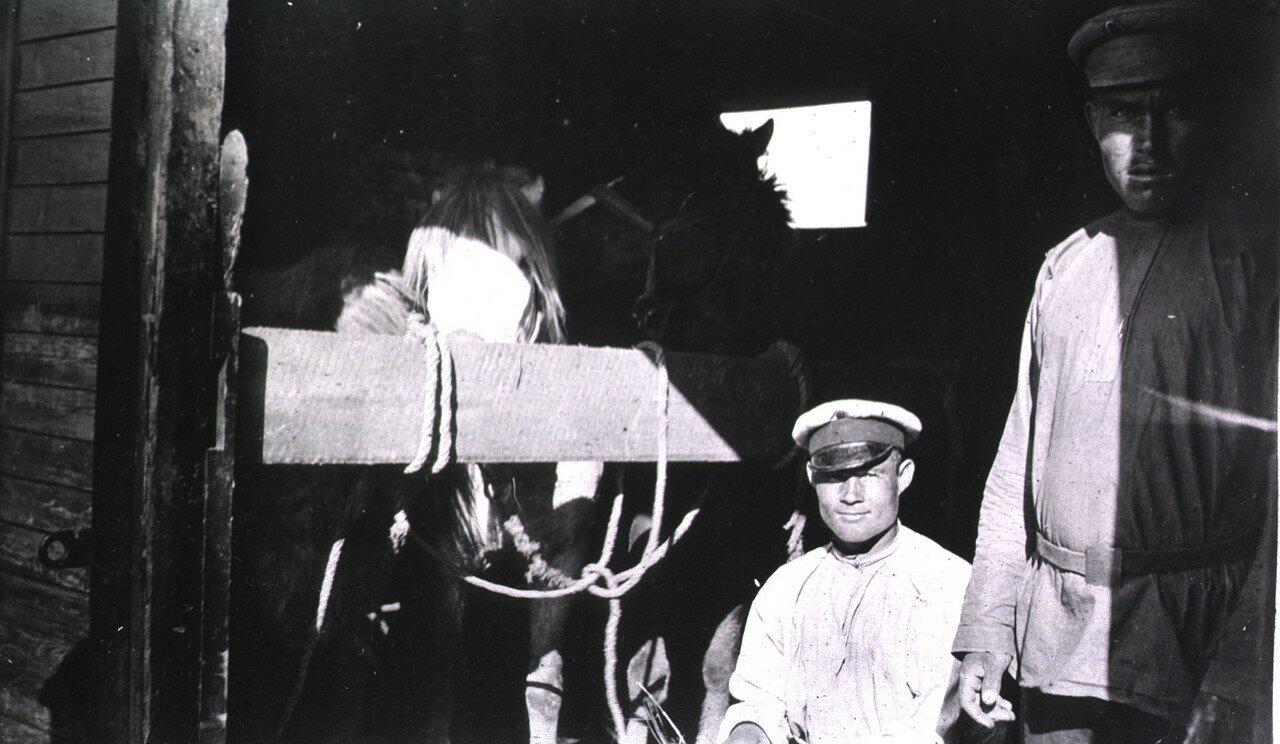 Двое мужчин с двумя лошадьми внутри вагона на станции в Харбине