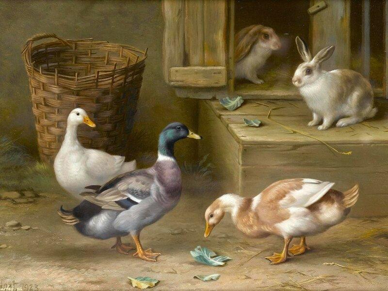 Птичий двор. Английский художник-анималист Edgar Hunt (1876 - 1955)