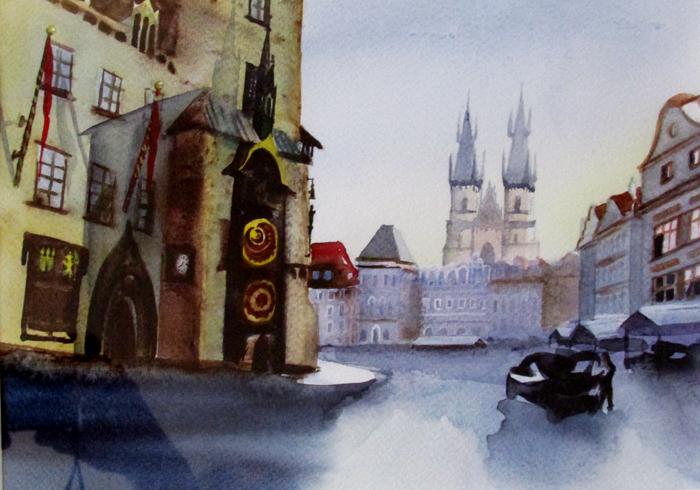 акварельная Прага