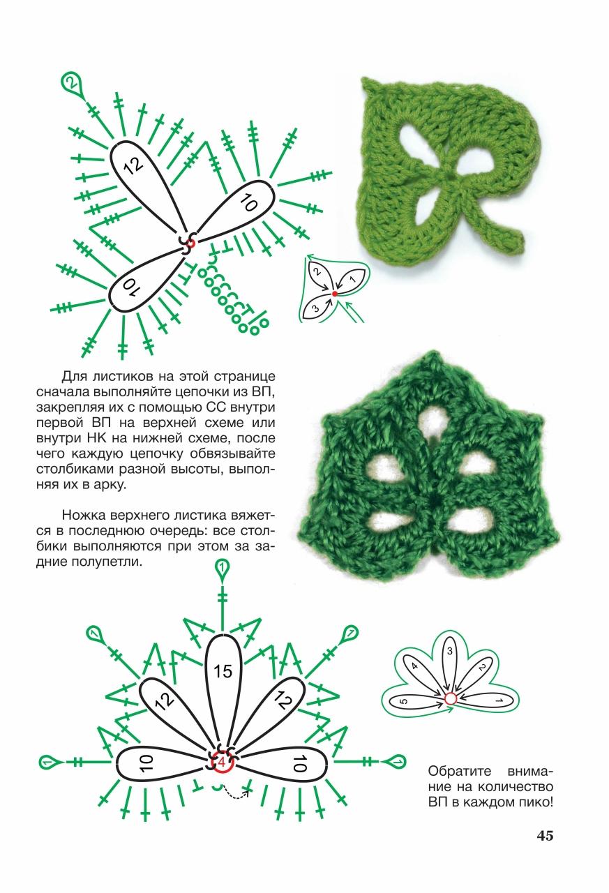 Как вязать цветы и листья крючком схемы