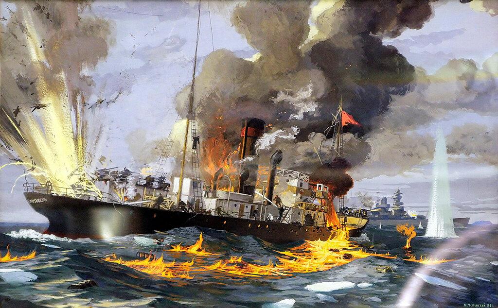 Успенский М. - Бой ледокольного парохода «Александр Сибиряков» с немецким крейсером «Адмирал Шеер» 25 августа 1942 г. (1961 г.)