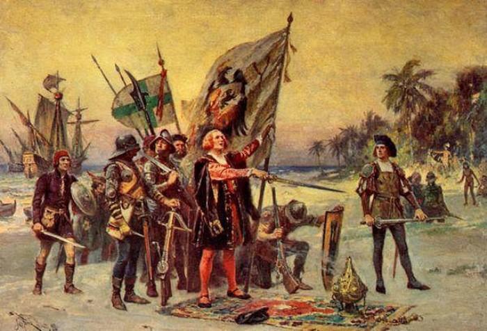 Ж. Л. Ж. Феррис. Прибытие Колумба в Америку В своем отчете о первой экспедиции он утверждал, что дос