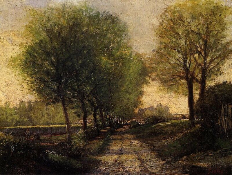 Sisley-avenue_of_trees_near_a_Small_Town