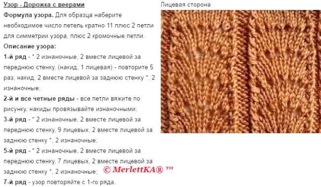 Вязание спицами узор веера схемы 87