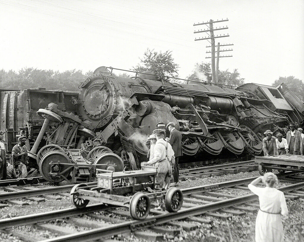 July 31, 1922. Laurel, Maryland. Two B&O freights wrecked in head-on crash at Laurel switch