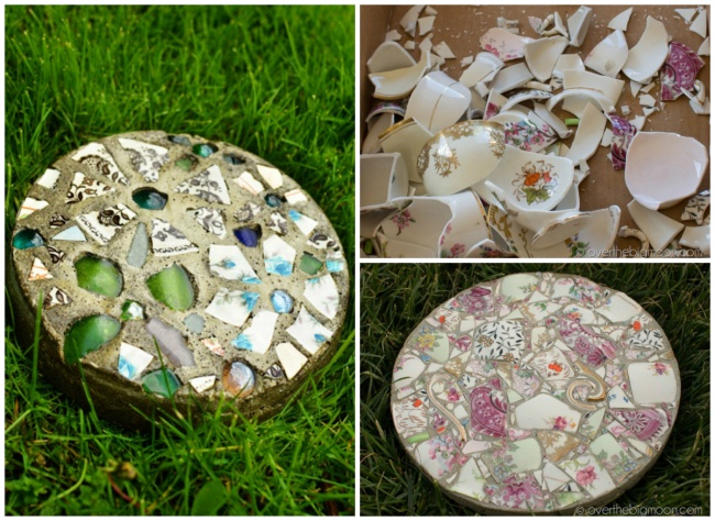Плитки для дорожки или просто оригинальный садовый декор избитого стекла ичерепков. Вот тут и тут