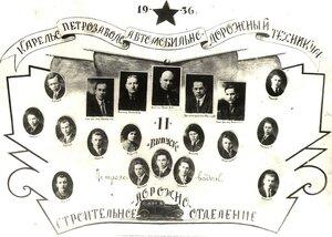 1936 г. Петрозаводский Автодорожный техникум. Строительно-дорожное отделение. 2 выпуск