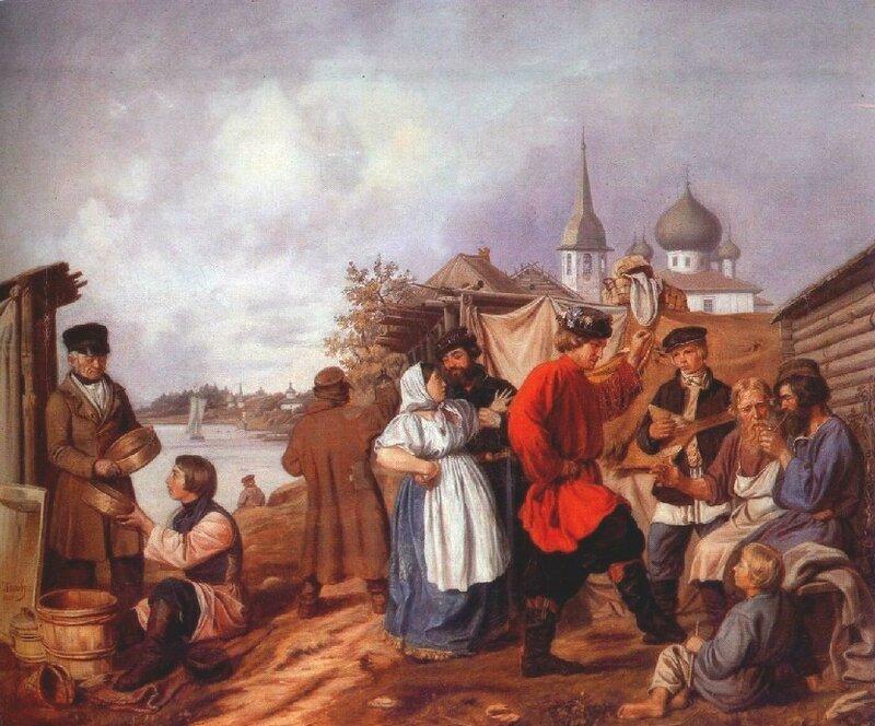 1853 А. Попов. Народная сцена на ярмарке в Старой Ладоге.jpg