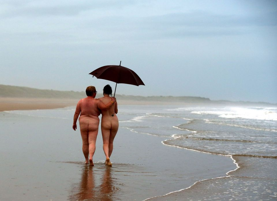 Nudists take part in the annual North Ea