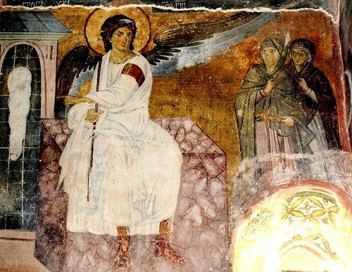 Явление Ангела жёнам-мироносицам (Белый Ангел). Фреска церкви Вознесения Господня в монастыре Милешева (Милешево), Сербия. До 1228 года.