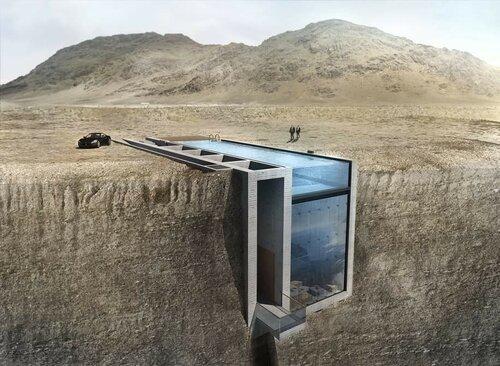 Отель в скале в стиле Джеймса Бонда