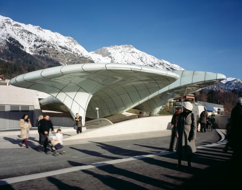 Станция фуникулера Hungerburgbahn в Инсбруке, Австрия.