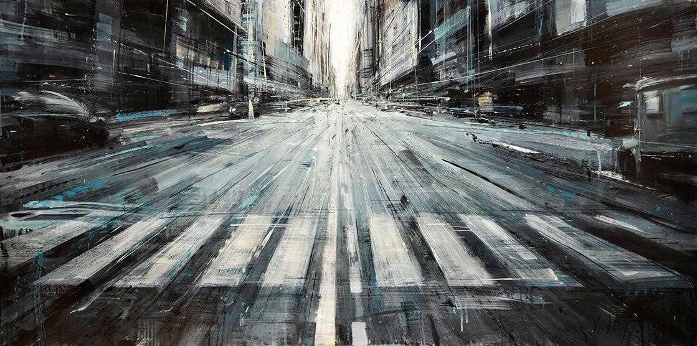 Пейзажи города в движении на картинах Valerio D'Ospina