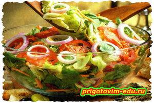Овощной салат ( романо, лолло-россо, айсберг и корн )