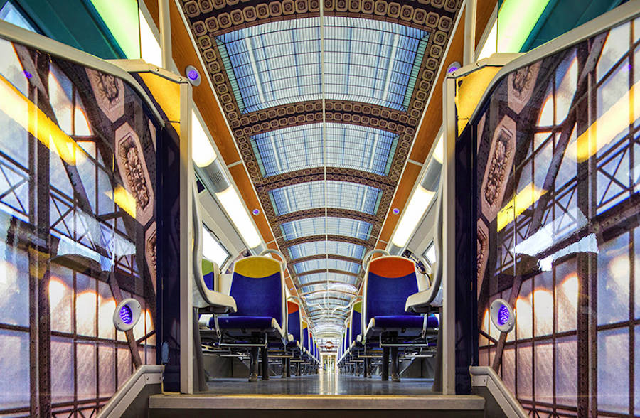 French Public Trains Redecorated with Impressionist Art (12 pics)