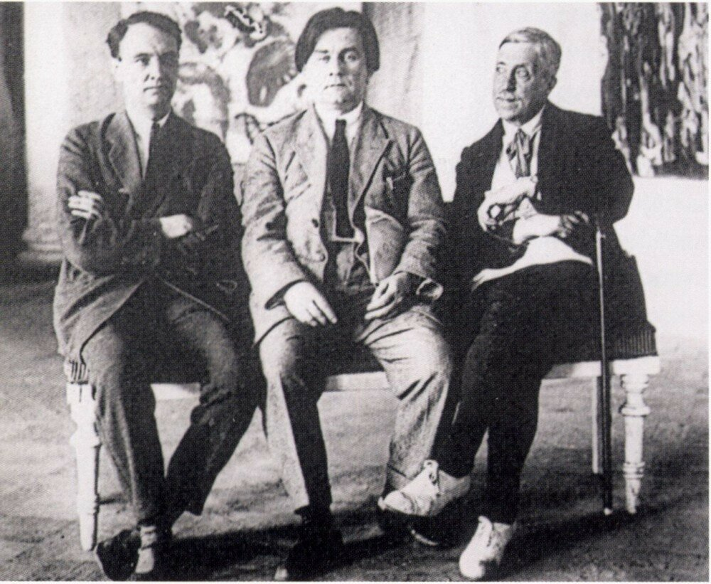 1925. Н.Н. Пунин, К.С. Малевич, М.В. Матюшин в Музее художественной культуры. Петроград