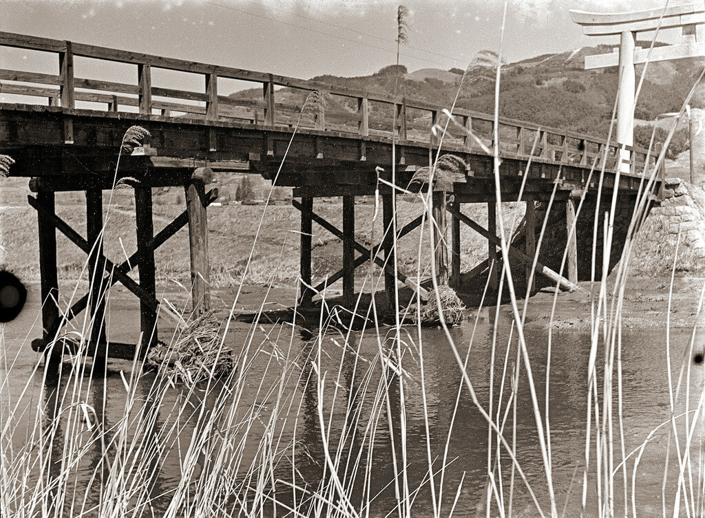 Wooden Bridge & Shrine Torii, 1930s Japan.