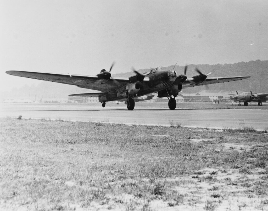Petlyakov PE-8 (Soviet Heavy Bomber). At Bolling Field, D.C., in 1942. It brought Soviet Foreign Minister Molotov to the United States.