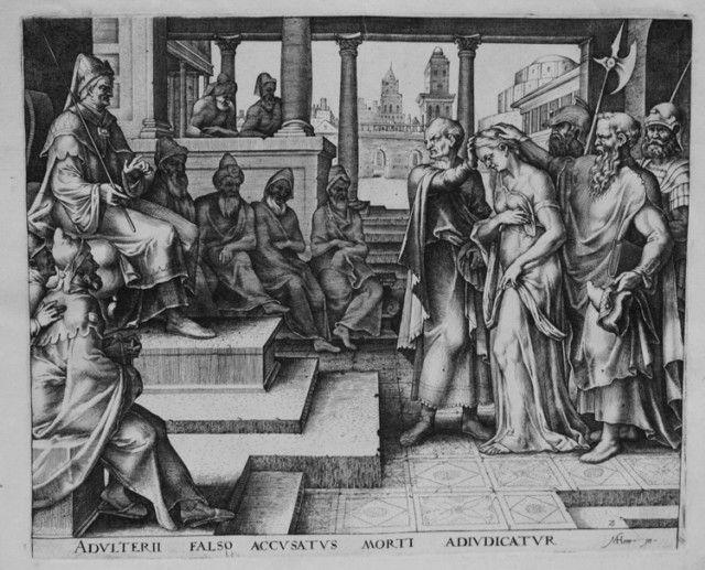 Старейшины обвиняют Сусанну в прелюбодеянии. Филиппс Галле, гравюра, 1563