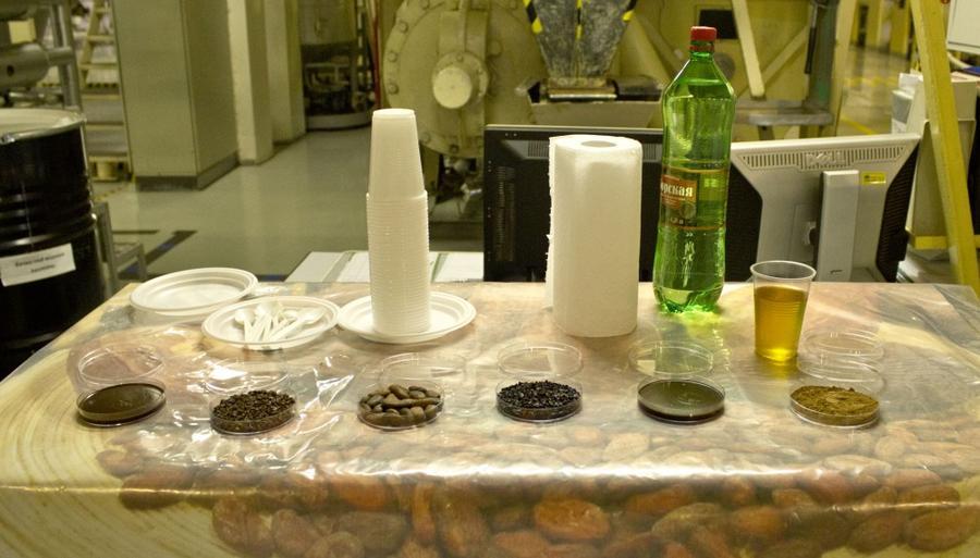 10. А это все стадии обработки какао-бобов — от обжарки до сухого порошка и какао-масла: