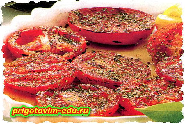 Печёные томаты в оливковом масле и травах