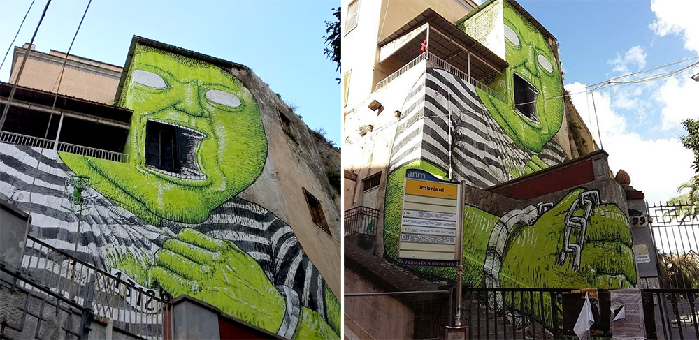 New 'Green Giant' Mural by Blu on the Streets of Naples