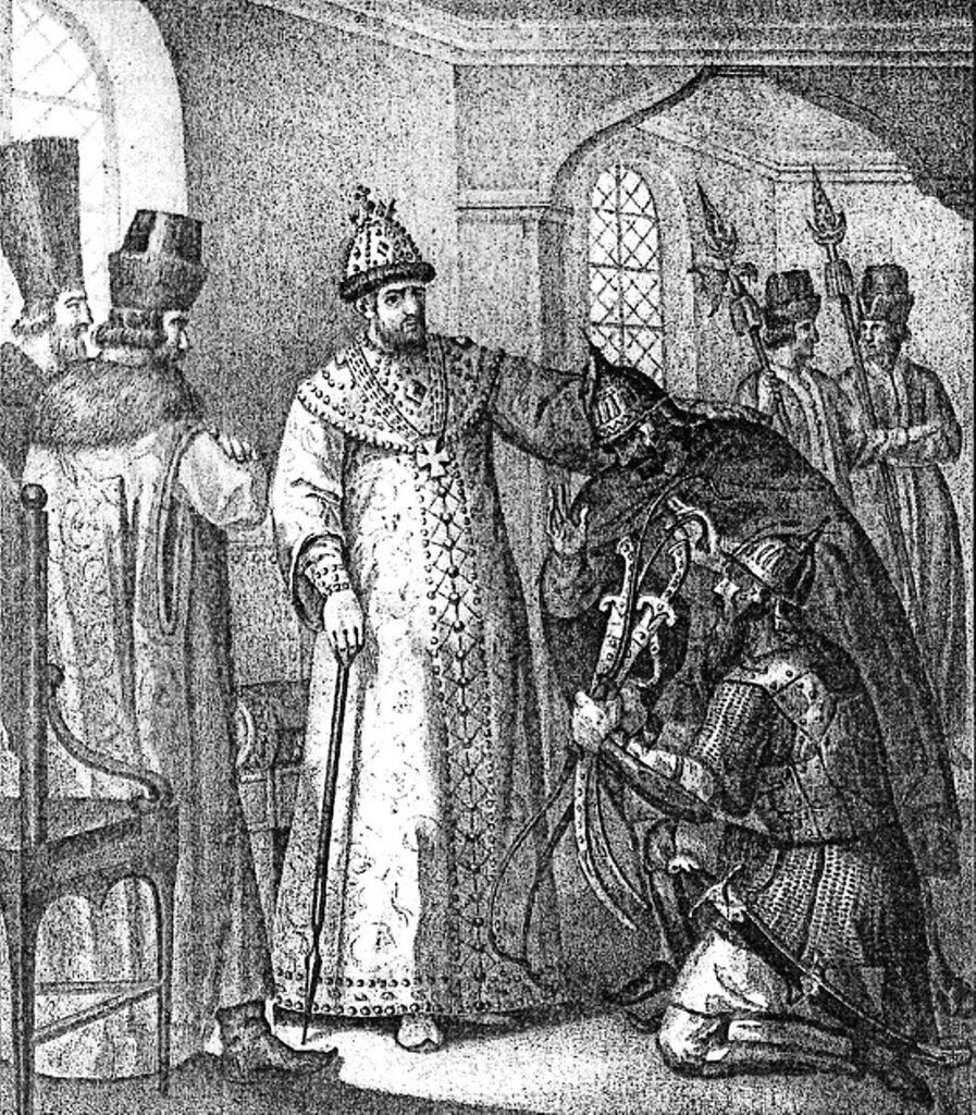 Царю Ивану IV вручают трофеи, взятые у Девлет-Гирея князем Воротынским после сражения при Молодях. Ivan_IV_1572.jpg
