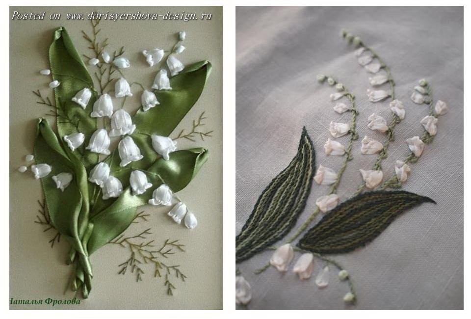 вышивка ландышами, текстиль, одежда, декор
